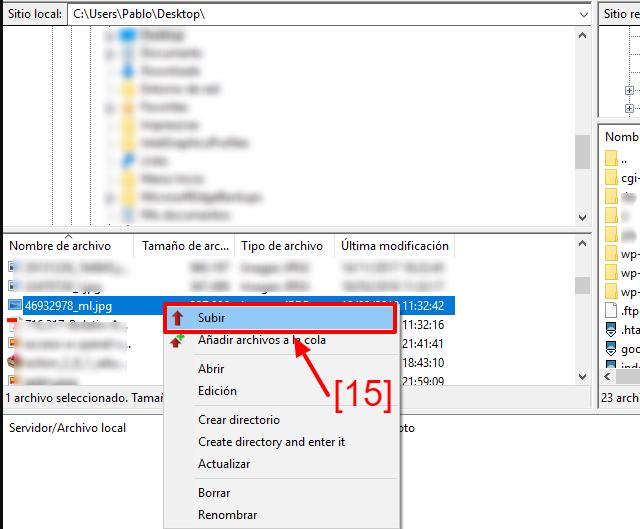 Ejemplo de cómo subir una imagen vía FTP a tu WordPress.
