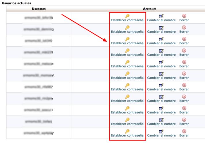 Desde aquí puedes establecer la contraseña del usuario MySQL.