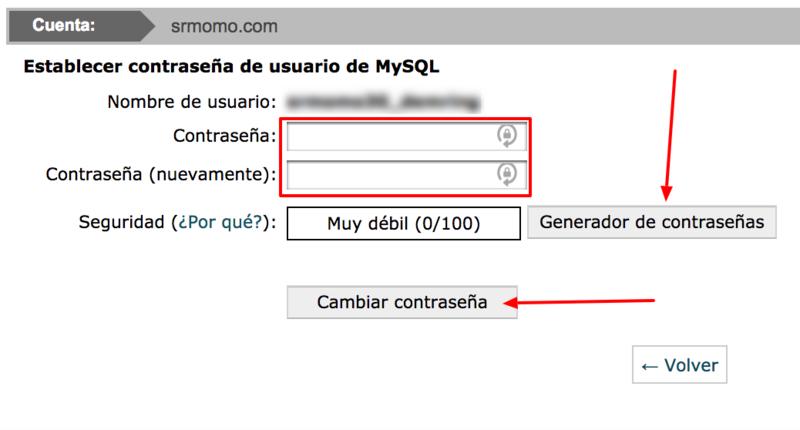 Establece una nueva contraseña segura para el usuario MySQL.