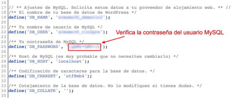 Pon la nueva contraseña del usuario MySQL en wp-config.php.