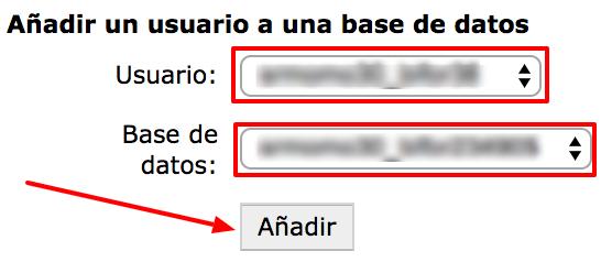 Añade de nuevo el usuario MySQL a la database.