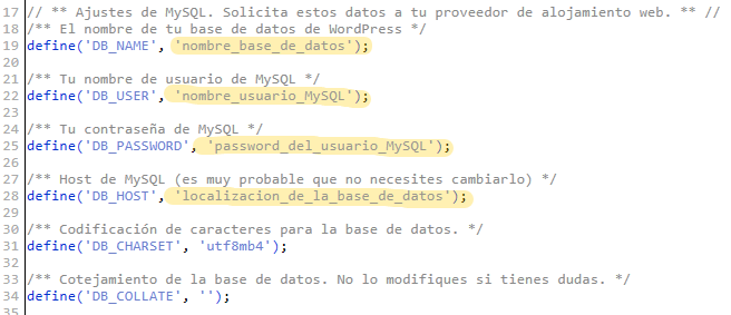 En wp-config.php tienes la información acerca de la base de datos.