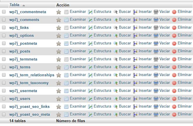 Ejemplo de base de datos de un WordPress con todas las tablas empezando con el mismo prefijo.
