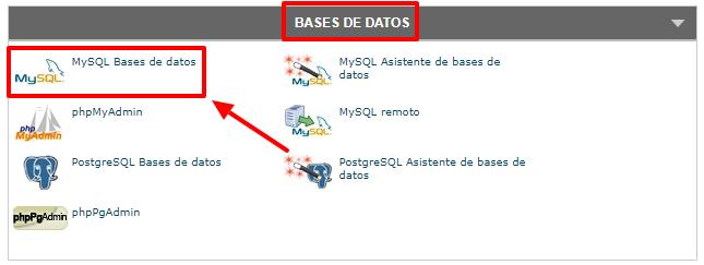 Ves al apartado de bases de datos de tu cPanel.