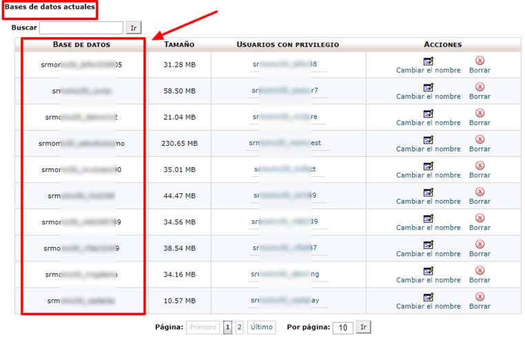 Apúntate el nombre de la base de datos de la web en la que aparece el error.