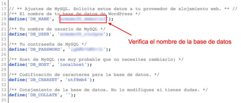 Verifica el nombre de la base de datos.