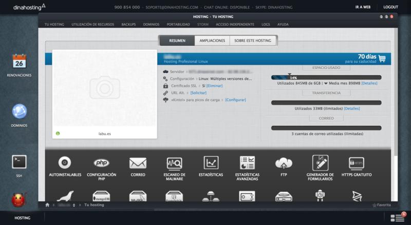 Ejemplo de panel de control altamente personalizado: Dinahosting.