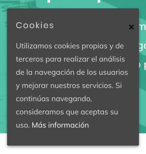 Ejemplo de aviso de cookies.