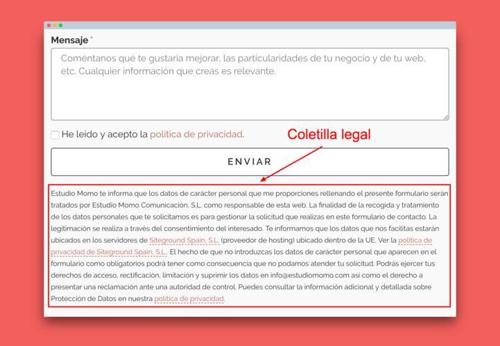 Ejemplo de coletilla legal en formulario de contacto.