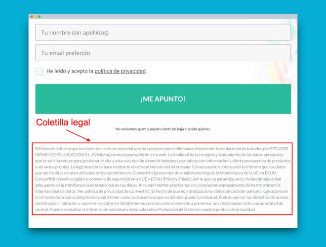Coletilla legal en formulario de suscripción a newsletter.