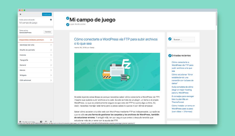 personalizar generatepress wordpress