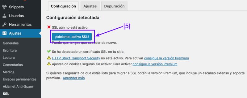 Haz clic aquí para activar SSL en WordPress