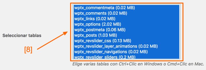 Selecciona todas las tablas para cambiar todas las URLs