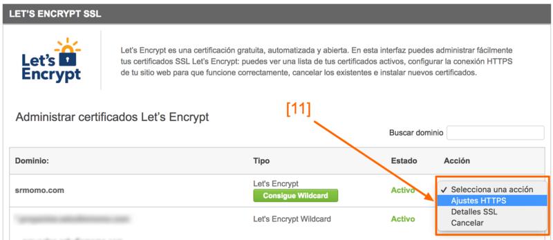 Despliega el selector y haz clic en Ajustes HTTPS