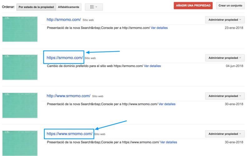 Añade las dos propiedades con HTTPS a Search Console