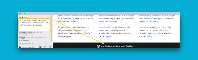 copyright bar add on GeneratePress Premium