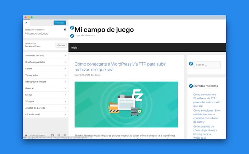 generatepress premium opciones: Panel de personalización tras activar GeneratePress Premium, con más opciones que en la plantilla gratuita