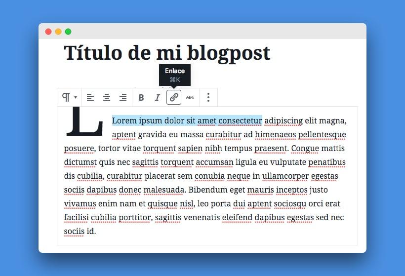 cómo insertar enlace con Gutenberg