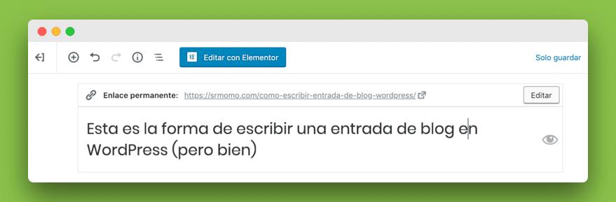 edición de URL en Gutenberg a partir del título de la entrada de blog