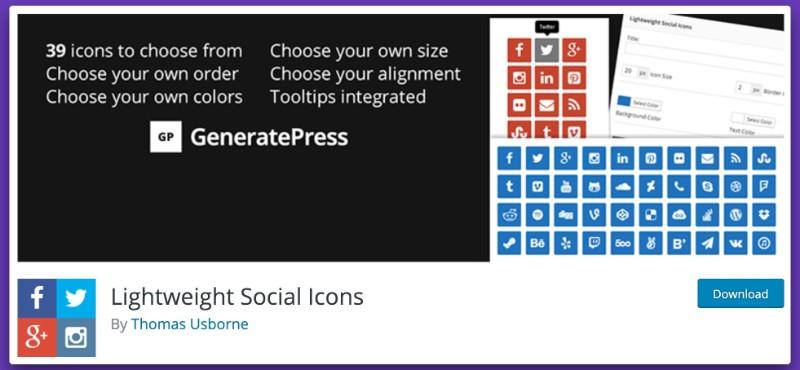 widget Lightweight Social Icons