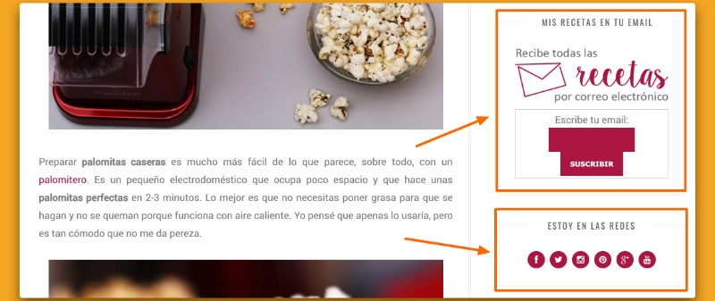 Ejemplos de widgets para blog