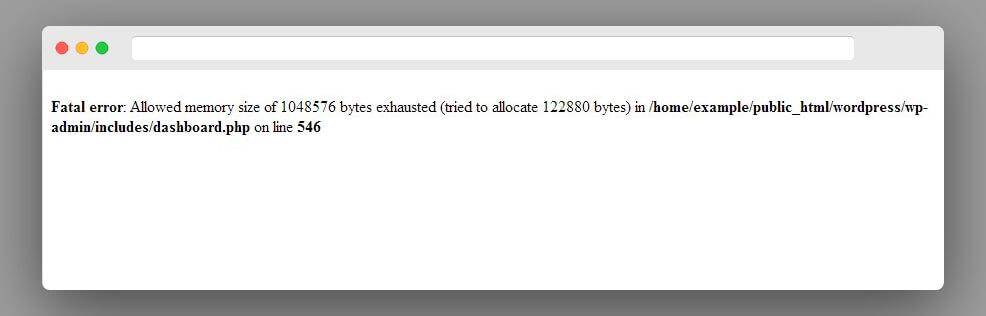 mensaje error cuando la memoria WordPress se agota