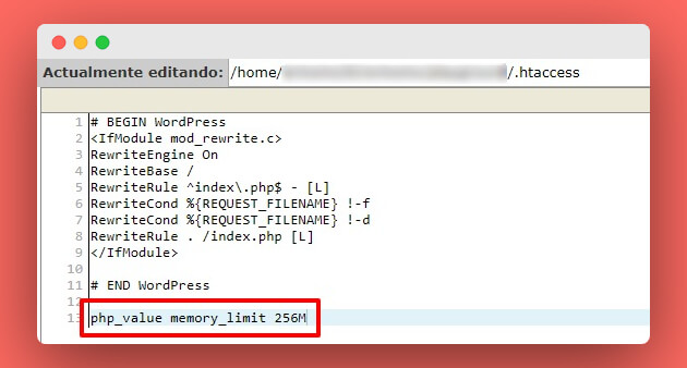modifica .htaccess para incrementar límite de la memoria WordPress