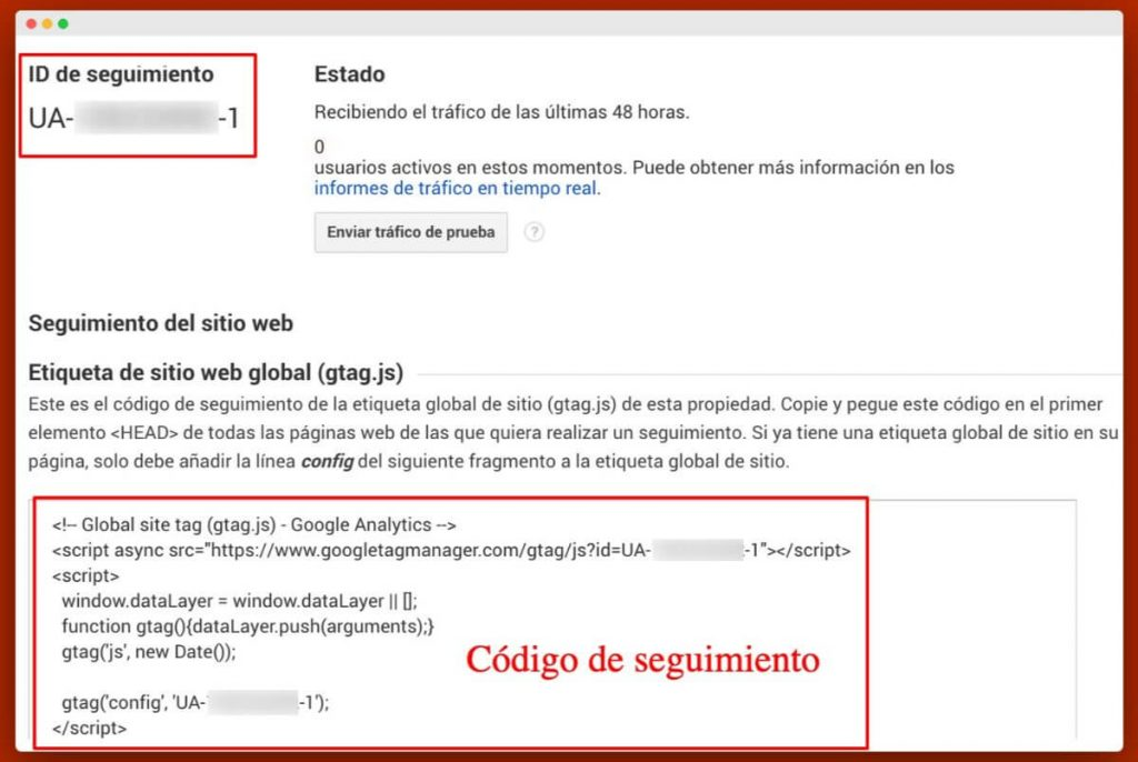 Ejemplo de código de Google Analytics
