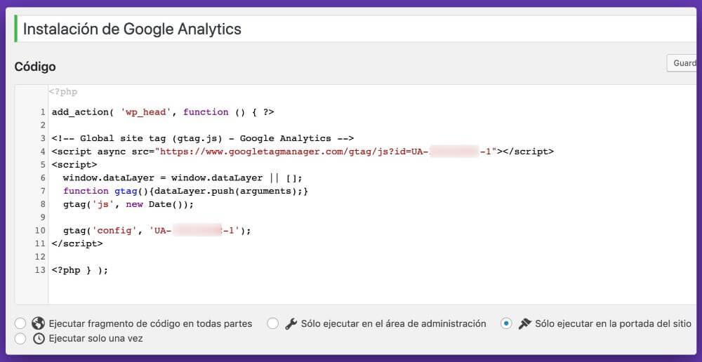 Instalación del código de rastreo de Analytics usando el plugin Code Snippets