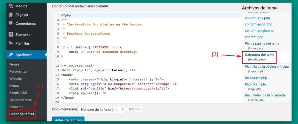 localización del archivo header.php