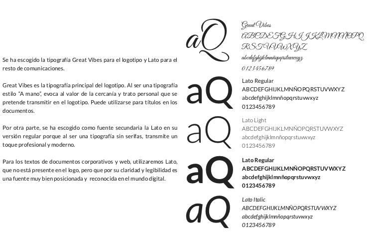 tipografías en un manual de marca