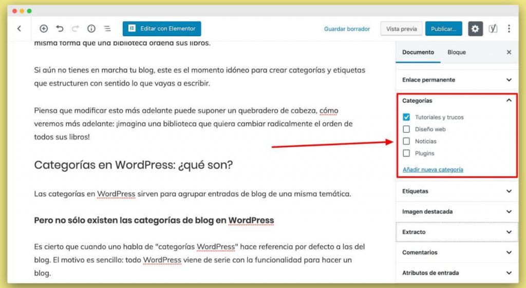 categorías WordPress en SrMomo