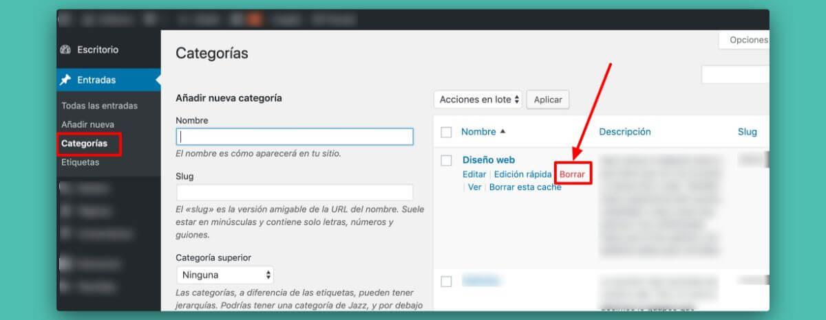 Cómo eliminar categorías en WordPress