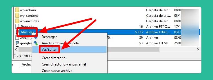 editar archivo .htaccess