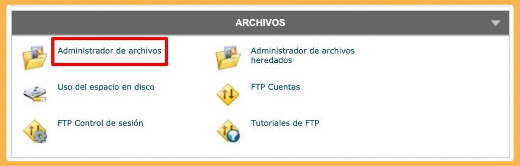administrador de archivos en cPanel