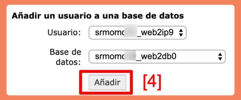 asociar el usuario mysql a la base de datos