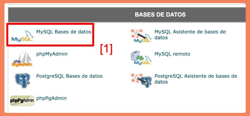 opción MySQL Bases de datos en cPanel