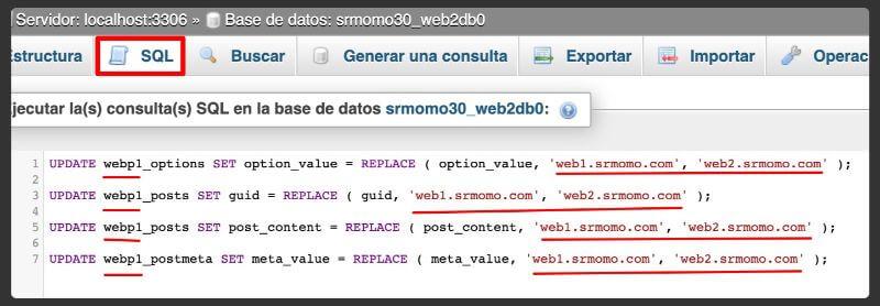 consultas SQL para actualizar las URLs en una migración WordPress