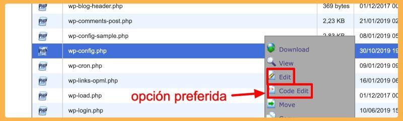 editar archivo wp-config.php