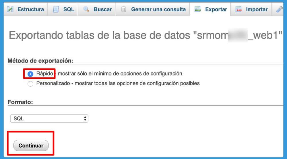 exportación rápida de base de datos archivo SQL