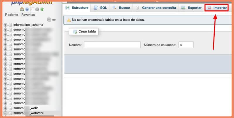 opción importar contenido a una database
