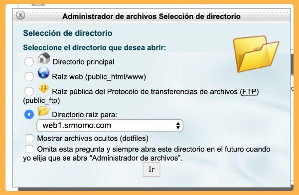 selección directorio webFTP