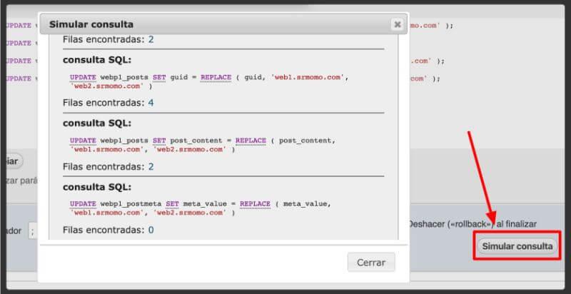 simular consulta SQL actualizar URL