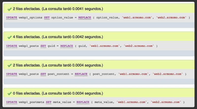 URLs actualizadas para completar la migración WordPress