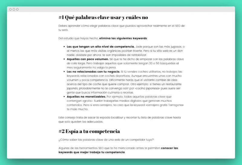 consejos blog formato texto