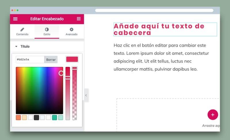 widget de Elementor de editor de texto y encabezado