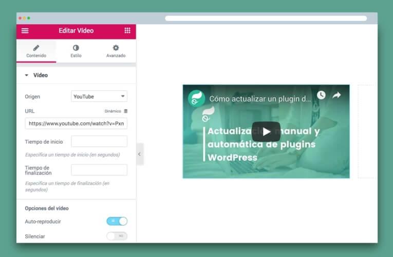 widget de elementor de vídeo