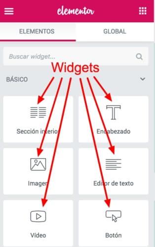 widgets de elementor