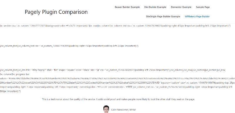 ejemplo de página con Visual Composer desactivado