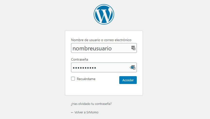 formulario login para acceder a WordPress